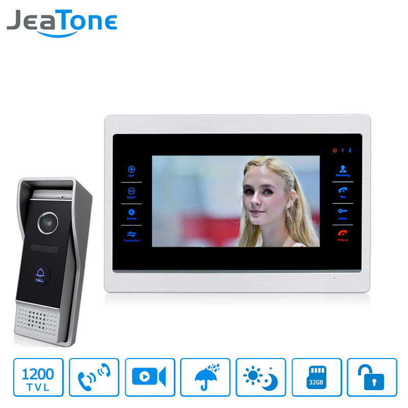 JeaTone Wired Video Door Phone Doorbell Intercom 7 inch Touch-Button Monitor + 1200TVL Waterproof Security Camera Call Panel jeatone 7 lcd monitor wired video intercom doorbell 1 camera 2 monitors video door phone bell kit for home security system