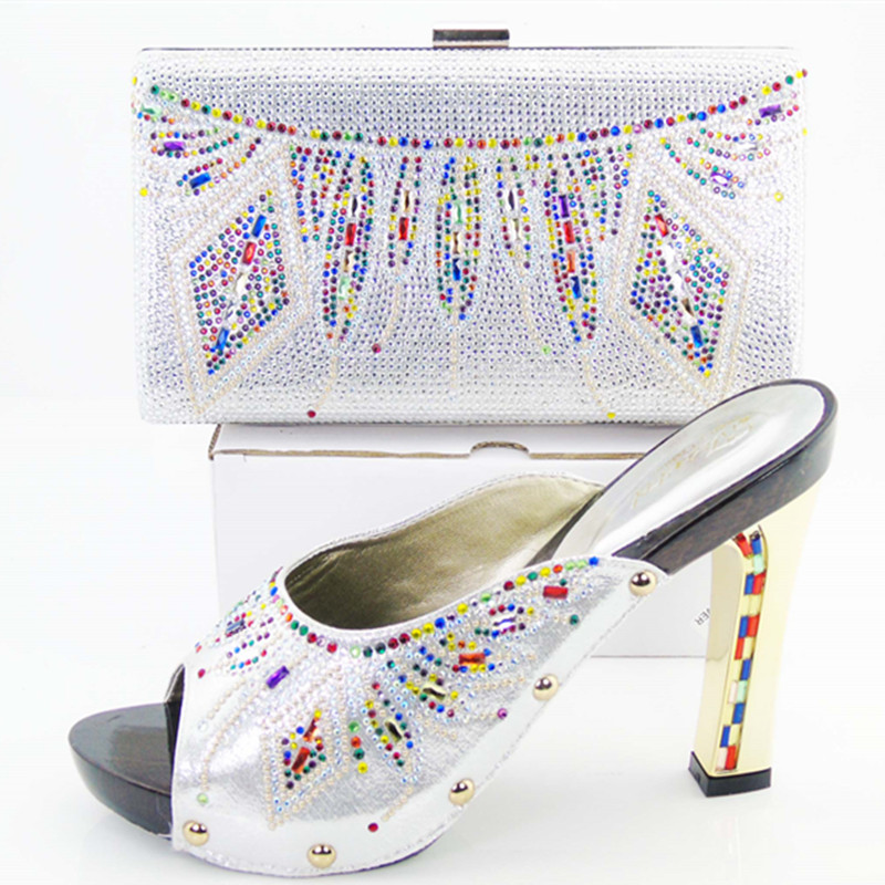 ФОТО 2017 New Italian matching shoes with bags set fashion white African shoe and bag set for party colorful