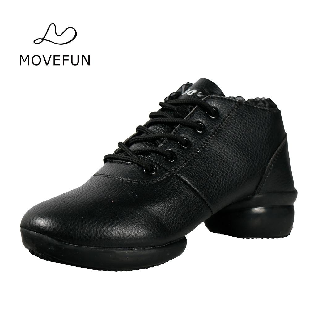 movefun Lente- en herfstdans schoenen Dames Jazzlaarzen Nieuwe collectie Vierkante dansschoenen moederschoenen Zwarte dansende sneakers # 87
