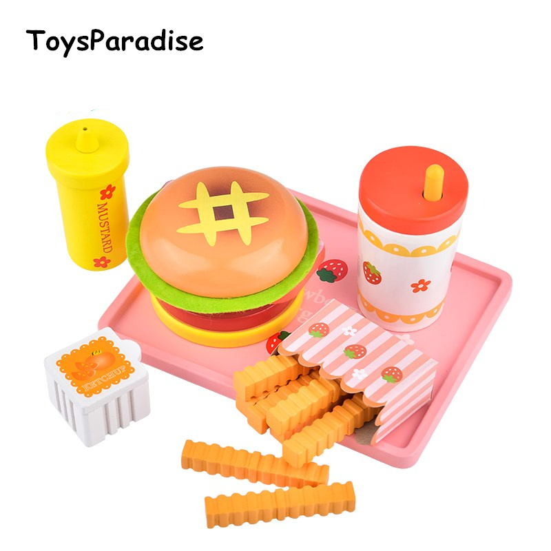Baby Toys Strawberry Simulation Hamburger French Fries Wooden Toys For Kids Hot Dog Set Kicthen Food Toys Educational Gift