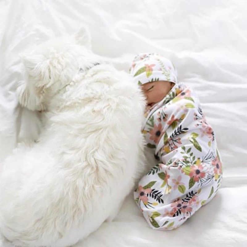 الوليد الطفل كيس النوم لطيف الكرتون الحيوان مطبوعة قماط بطانية النوم قماط بطانية لحمل الرضع من نسيج قطني قبعة 2 قطعة المولود الجديد مجموعة
