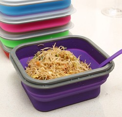 5 Colors Silicone Collapsible Portable Healthy Lunch Box Folding Food Storage Container Lunchbox Bento Box Eco-Friendly