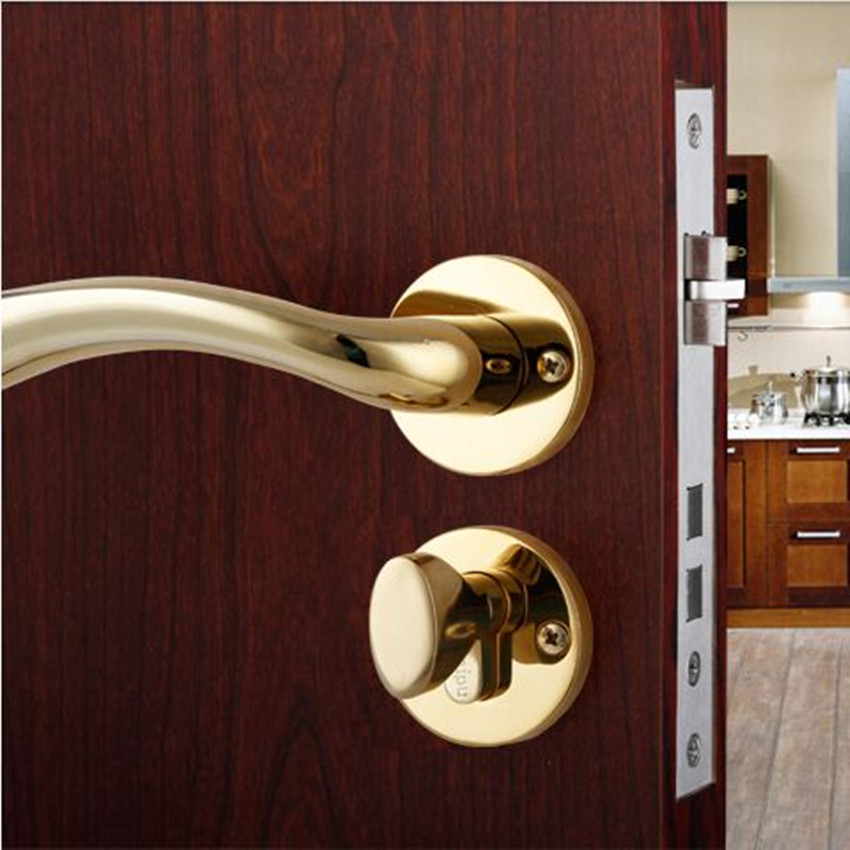 European Style Door Locks Interior Bedroom Handle Lock Pure Copper Core Pvd Gold Magnetic In From Home Improvement On