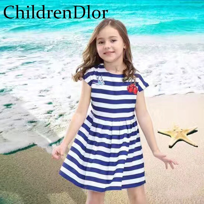Vestidos Girls Party Dress Striped Baby Girl Clothes Cherry Embroidery Princess Costume for Kids Dresses for Girls Clothing платье для девочек hello kitty dress girl dress girl party dress girls dresses 2015 vestidos infantis 1 zz3038 baby girls dress girls dress kids clothes dress for girls