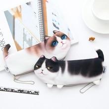 купить 2019 NEW Kawaii Novelty Simulation Cartoon Cat Pencil Case Soft cloth School Stationery Pen Bag Gift for Girl Boy Student дешево