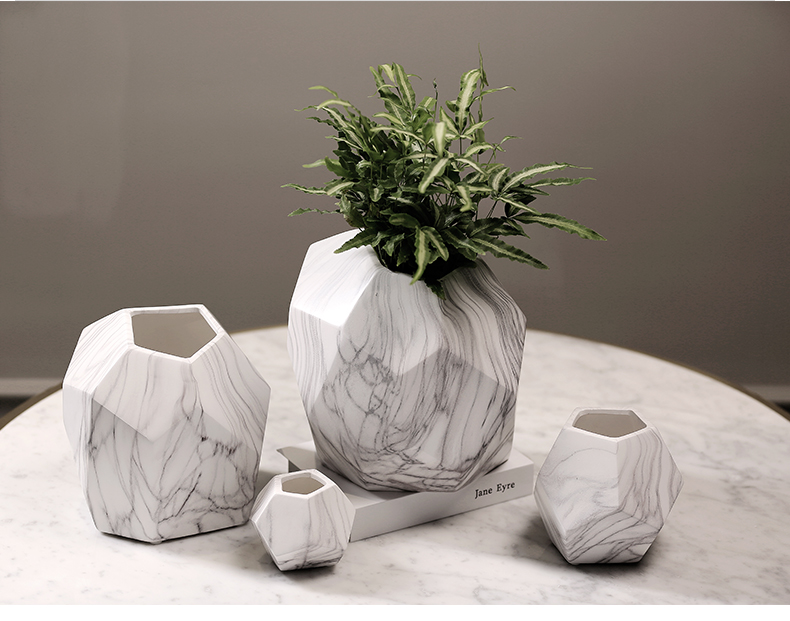 Irregular Home decor flower pots ceramic vases marble grain vein texture decorative flower vases flowerpot planters