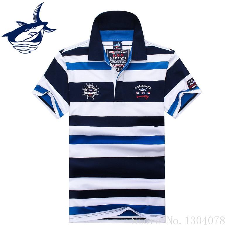 2017 High Quality Tops&Tees Mens Tace Shark Polo Shirts fashion Style Summer Striped Shark brand short sleeve polo shirt men