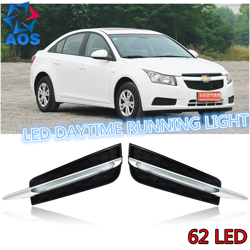 Turning style  AUTO LED DRL car daylight Daytime Running Lights set for Chevrolet Cruze 62LED 2010 2011 2012 2013  with fog lamp hot sale abs chromed front behind fog lamp cover 2pcs set car accessories for volkswagen vw tiguan 2010 2011 2012 2013