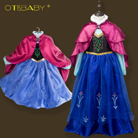 High Quality Anna Dress For Girls Christmas Party Dresses Cloak Kids Elsa Clothes Girl Snow Queen