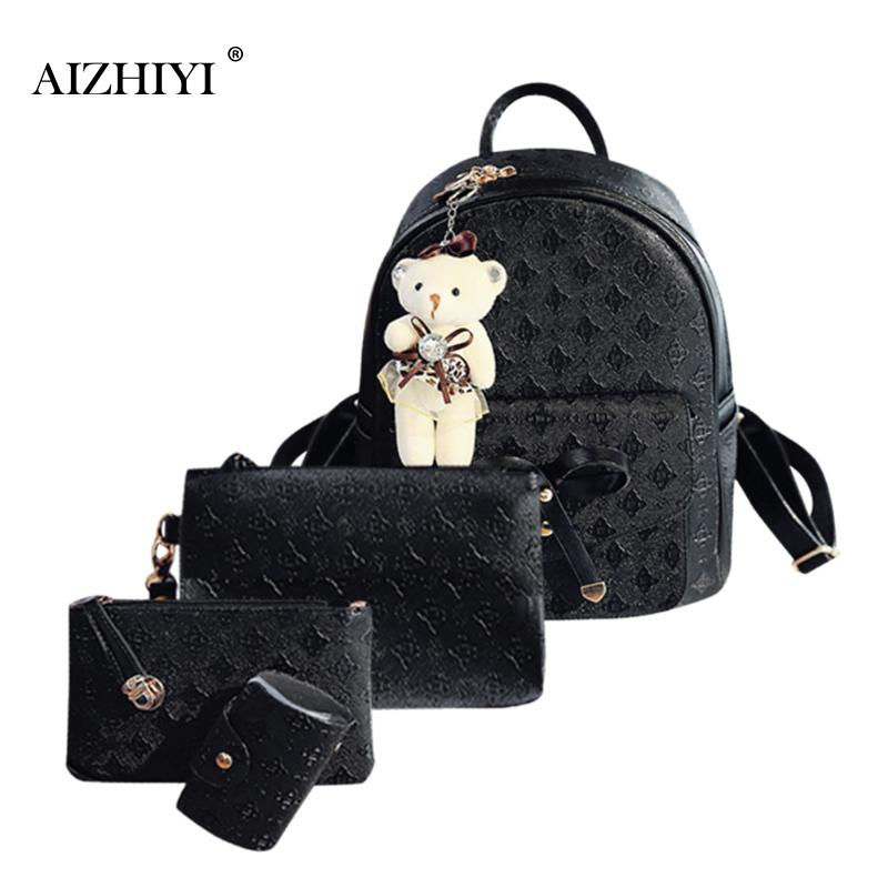 4pcs/set Women Fashion Backpack PU Leather Teenage School Bag Casual Clutch Crossbody Travel Bags for Girls with Purse and Bear 2018 new casual girls backpack pu leather 8 colors fashion women backpack school travel bag with bear doll for teenagers girls page 7