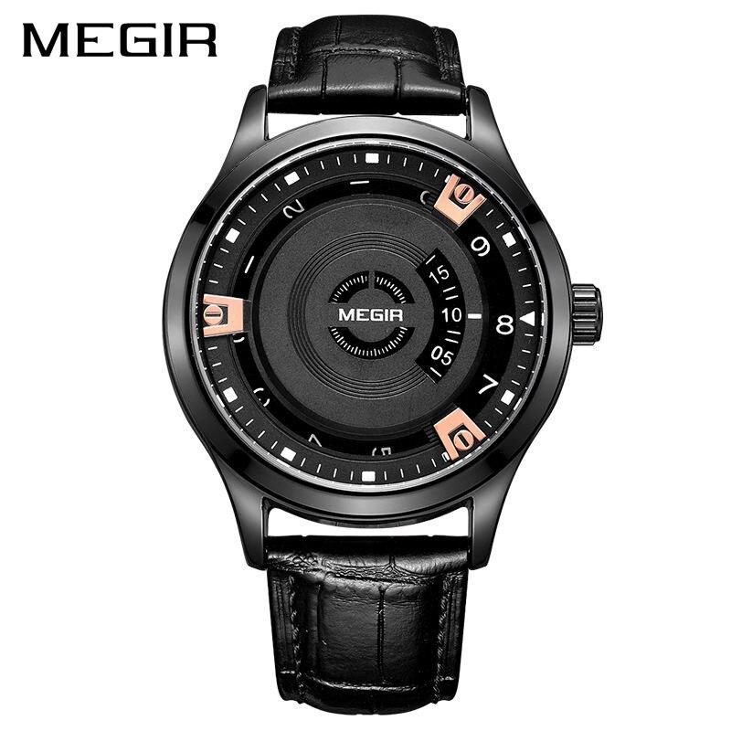 MEGIR 2017 New Men Watch Top Brand Luxury Genuine Leather Engraved Dial Military Watches Clock Male Erkek Kol Saati Relogios