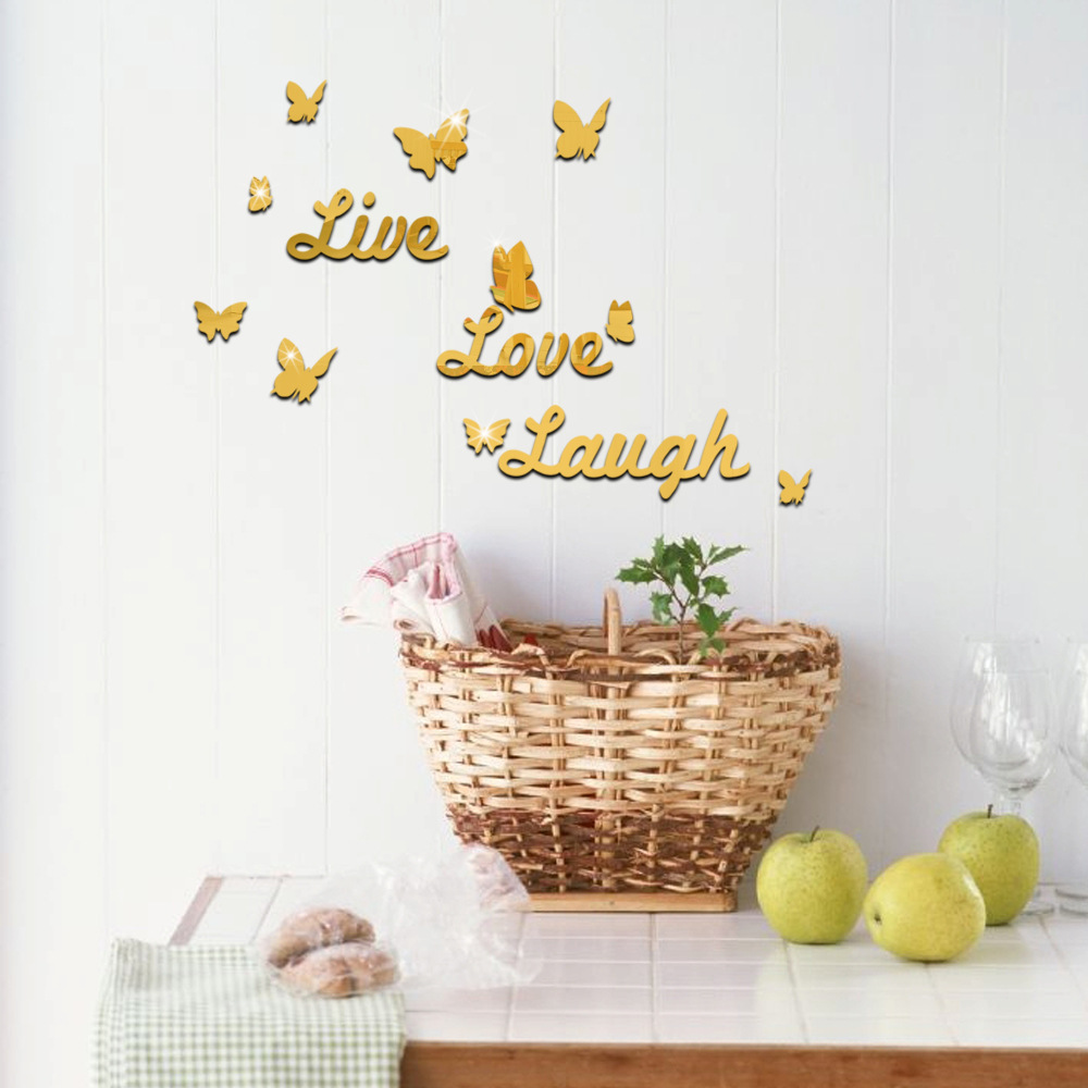 Live Love Laugh Wall Sticker Quote Butterfly Mirror Acrylic Wall Sticker  Butterfly Wallpaper Poster Home Decoration Accessories In Wall Stickers  From Home ...