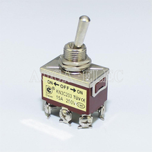 цена на 20PCS KN3C-203 15A 250VAC DPDT ON-OFF-ON 6 Pin Toggle Switch 3 Position 12.2MM Screw Terminal