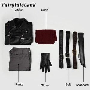 Image 2 - Negan Costume dhalloween, Costume pour adulte TV The Walking Dead season, 8 Cosplay Negan Black veste écharpe, ceintures, tenue Cosplay