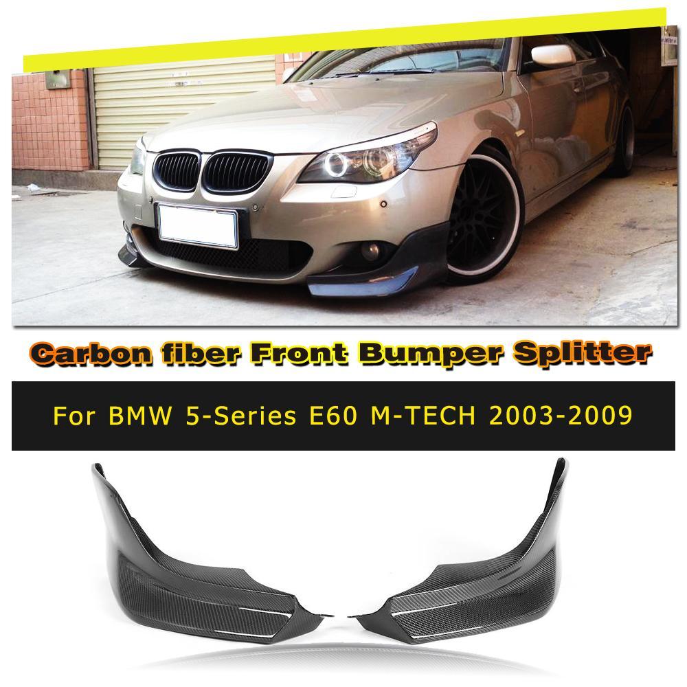 Car Front Bumper Lip Splitters Aprons for BMW E60 M Tech M Sport Bumper Only 2006 - 2010 Carbon Fiber / FRP carbon fiber frp unpainted car front bumper lip aprons splitters flaps for bmw 1 series e87 m tech m sport bumper 07 10 2pcs set