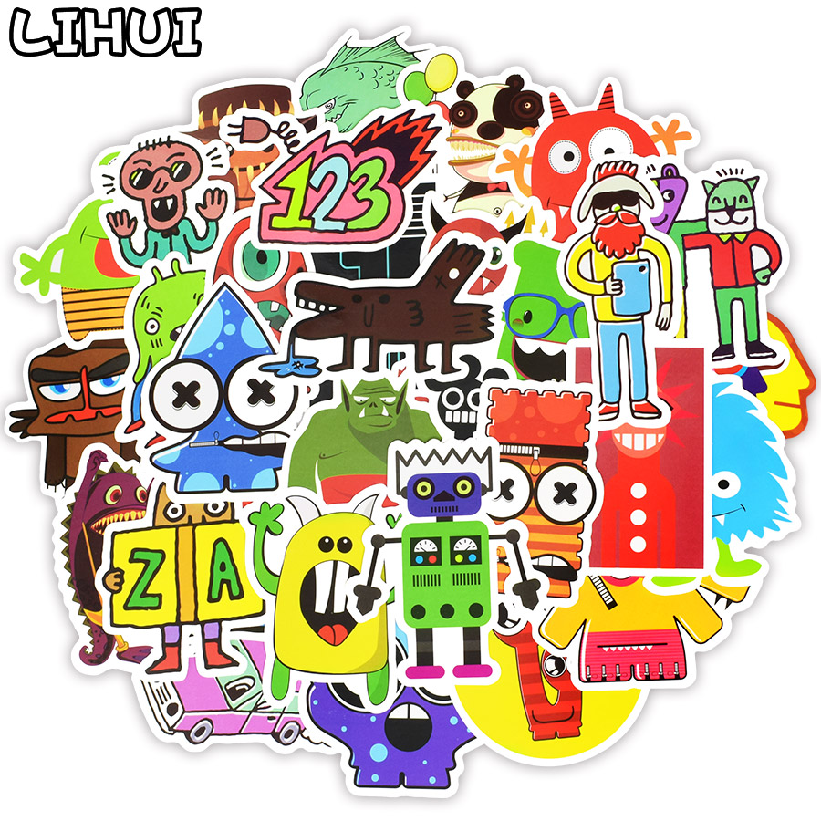 50 PCS Doodle Stickers Funny Little Monster Robot Decal Sticker Gift Toys For Children DIY Laptop Fridge Suitcase Skateboard Car