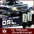 Guang Dian conduziu a luz do carro Para teana 7440 WY21W T20 LEVOU 5730 20smd led duplo cor DRL & Frente Virada Signalsall em um livre grátis