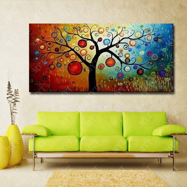 Artwork Hand Painted Money Tree Oil Painting Modern Canvas Art ...