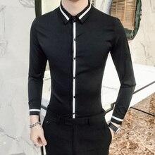 Camisa Social Masculina คุณภาพสูงฤดูใบไม้ผลิเสื้อชุดเจ้าบ่าว Tuxedo เสื้อผู้ชาย SLIM FIT แขนยาวสังคมเสื้อ