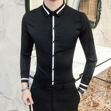 Camisa masculina de alta qualidade da primavera do vestido dos homens da camisa do smoking do casamento do noivo dos homens do ajuste fino camisas sociais de manga longa