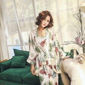 Image 4 - Новинка, женские пижамные комплекты, Женский комплект из 3 предметов, Хлопковая пижама для сна и отдыха, весенне осенняя Пижама, одежда для сна с цветочным рисунком, спортивный костюм