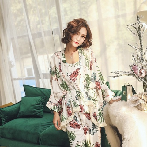 New Women Pajama Sets Womens 3 Piece Set Sleep Lounge Cotton Sexy Spring Autumn Pijama Nightwear Flower Plus Size Tracksuit Islamabad