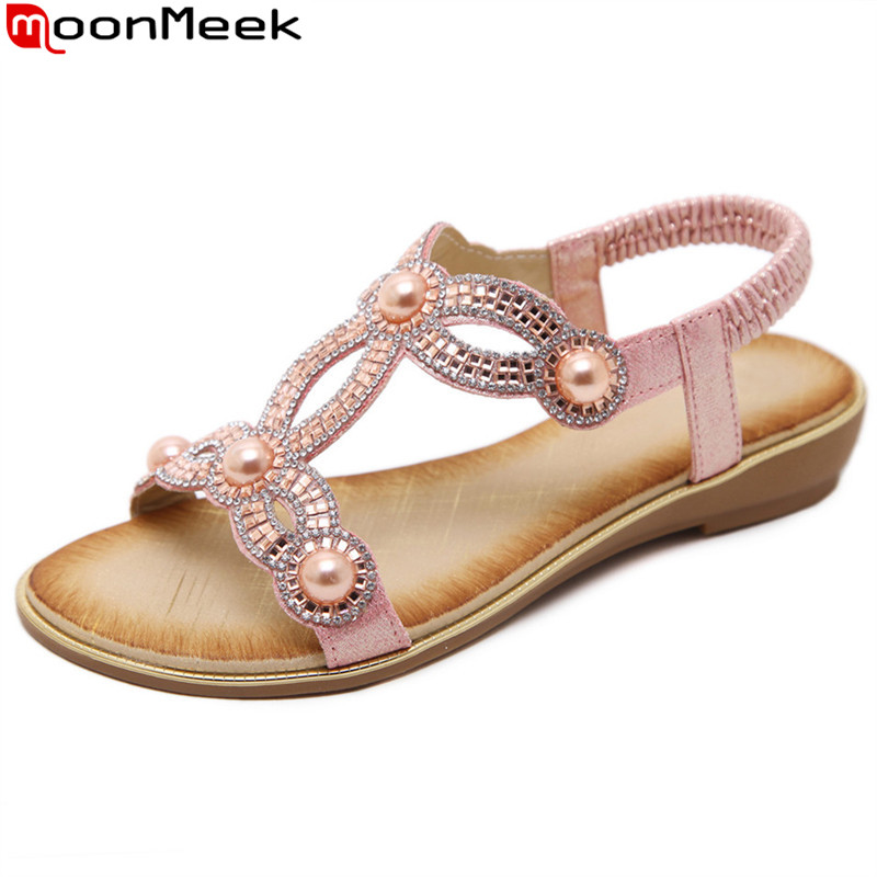 MoonMeek gold silver fashion summer shoes woman big size 35-42 wedges shoes casual comfortable crystal sandals women women wedges sandals plus size 36 42 woman summer shoes 2018 new fashion casual shoes for woman european gladiator sandals
