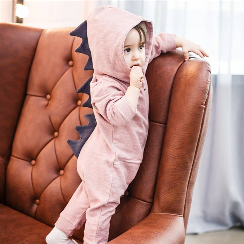 Emmababy Baby Boy Girl 3D Dinosaur Costume Solid pink gray Rompers warm spring autumn cotton romper Emmababy Baby Boy Girl 3D Dinosaur Costume Solid pink gray Rompers warm spring autumn cotton romper Playsuit Clothes
