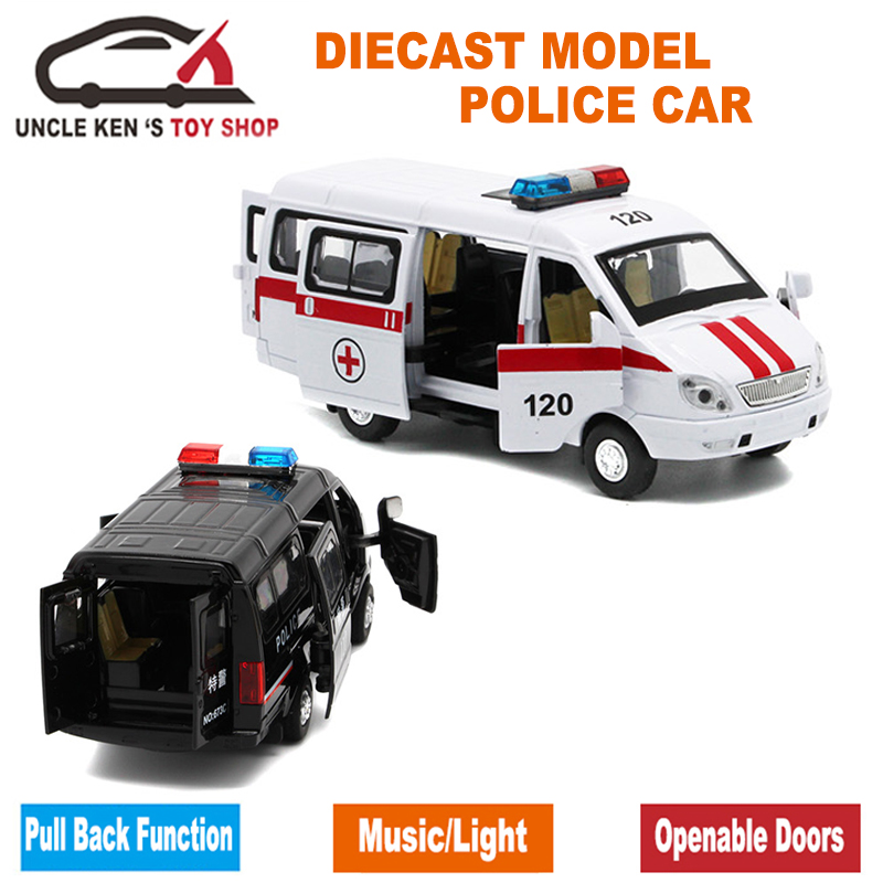 1/32 Scale Diecast Ryska GAZ Gazel Polis Ambulansmodellbil för - Bilar och fordon - Foto 3