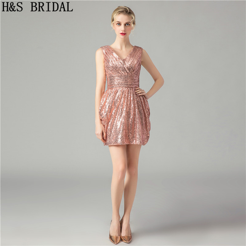 H&S BRIDAL Short   Prom     Dress   V Neck Sequins Evening   Dress   Short Pleated Mini   Prom   Gowns Rose Gold Vestidos Coctel Mujer 2019
