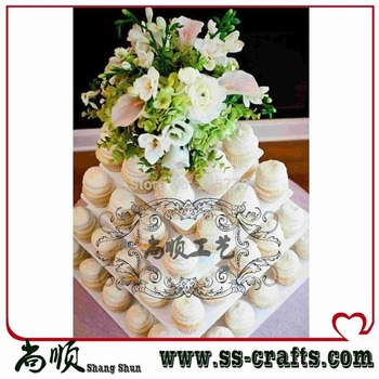 Free Shipping 4 Tier Round Clear Square Acrylic Cupcake Tower Stand Wedding Birthday Party Cake Decorations