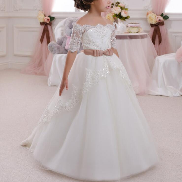 2016 Princess Flower Girl Dresses with Bow Half Sleeves Party Pageant Communion Dress Little Girl Kid/Children Dress for Wedding
