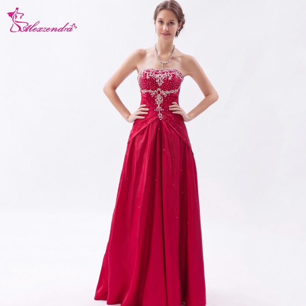 Alexzendra Dark Red Strapless Beads Satin A Line   Prom     Dresses   Evening   Dress   Party   Dress   Customize