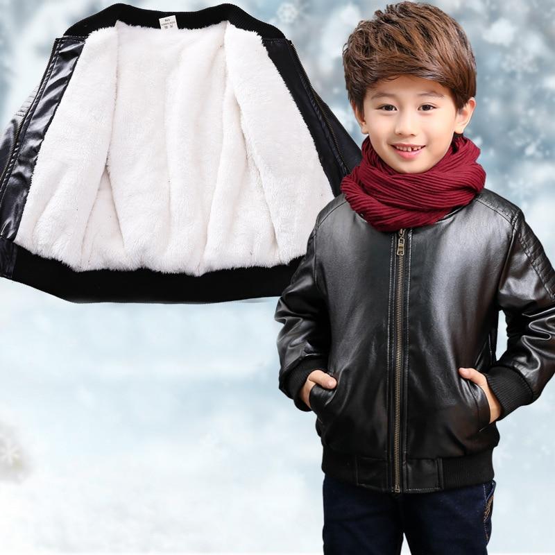 710dbee3f6c0 Liakhouskaya 90 170 Kids Tops Pu Fleece Leather Childrens Winter ...