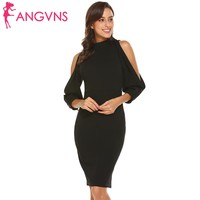 ANGVNS Elegant Women Split Long Sleeve Party Bodycon Dress 2018 New Pencil Dresses Vestidos