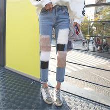 New autumn Women Denim Jeans Pants Fur Ankle-length Trousers Woman Jean Pants a637