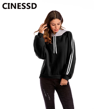 CINESSD Women Hooded Sweatshirt White Drawstring Long Sleeves Striped Patchwork Casual Loose Tops Black Lady Pullover Hoodies