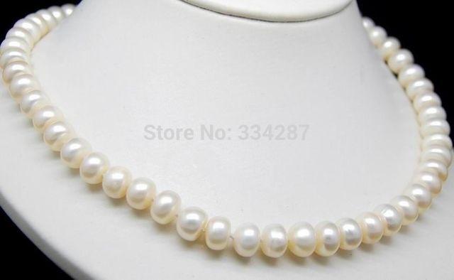 """100% Venta de Imagen completo Blanco Natural 8-9mm AAA + Oblato collar de perlas 18 """"de Largo"""