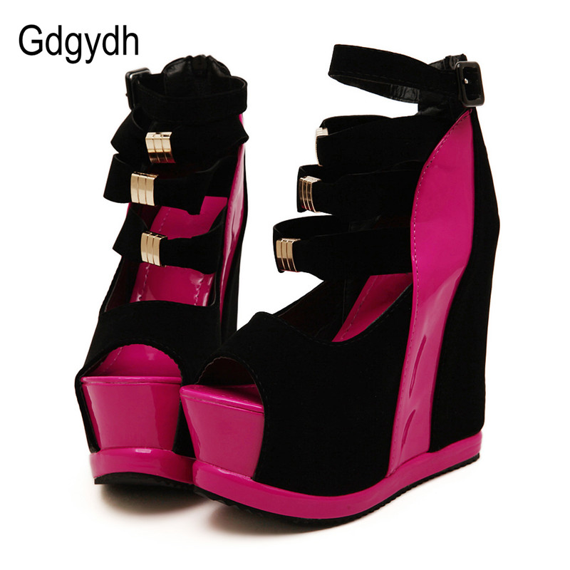 Gdgydh Hot Sale New Summer Shoes Woman Sexy Ultra High Heels Female Sandals Platform Wedges Open Toe Women Shoes Princess Shoes free shipping fashion 2017 new summer wedges platform sandals women black and white open toe high heels female shoes z596