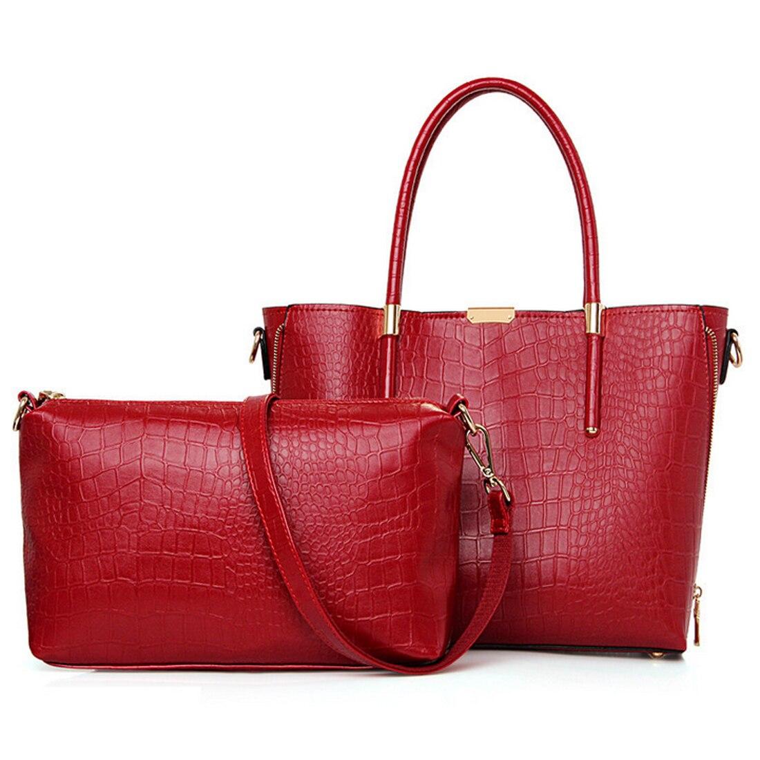 New Fashion Crocodile Women Shoulder Bags Gold Black Luxury Handbag PU Leather Female Large Tote Bag 2 Pcs handbags bolso