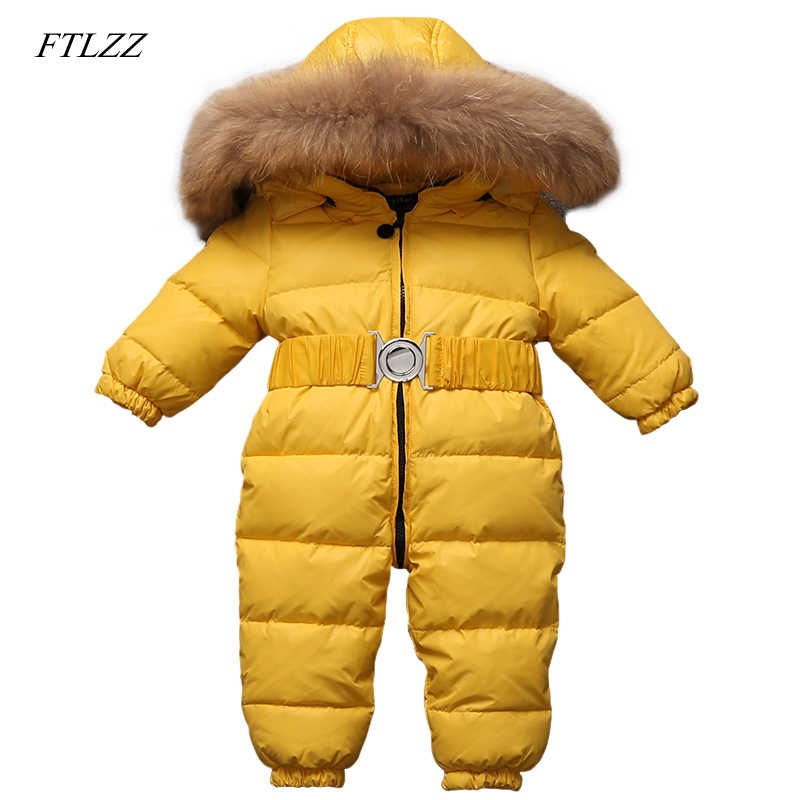 1b5a7732652c FTLZZ Baby Winter Jumpsuits Boys Girls Overalls Baby Rompers Duck Down  Jumpsuit Real Fur Children Outerwear