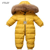 FTLZZ Baby Winter Jumpsuits Boys Girls Overalls Baby Rompers Duck Down Jumpsuit Real Fur Children Outerwear Kids Snowsuit