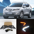 2x OEM Fit Amber / White Switchback 12-LED Daytime Running Lights w / Turn Signal Feature For 2014-2016 Nissan Rogue (X-Trail)