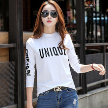 Long Sleeve T Shirt Plus Size Women Tshirt Camisetas Mujer Verano 2018 Autumn Top Half High Collar Femme T-shirt Women Clothes trendy jewel collar half sleeve flower print t shirt for women