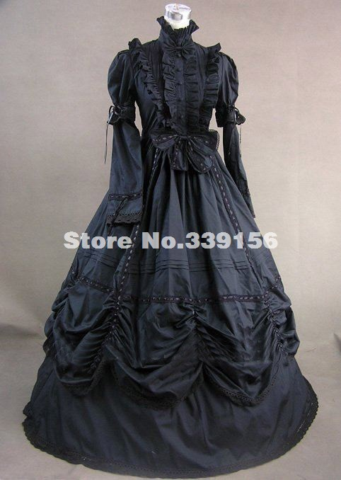 84054ed815 Hot Sale Royal Black Gothic Victorian Ball Gown Medieval Renaissance Rococo Civil  War Ball Gown For Women Plus Size Customized