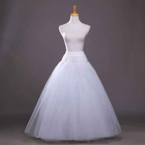 White Petticoat Bridal Wedding Dress Skirt Long Crinoline Underskirt Slips Hoop 2019