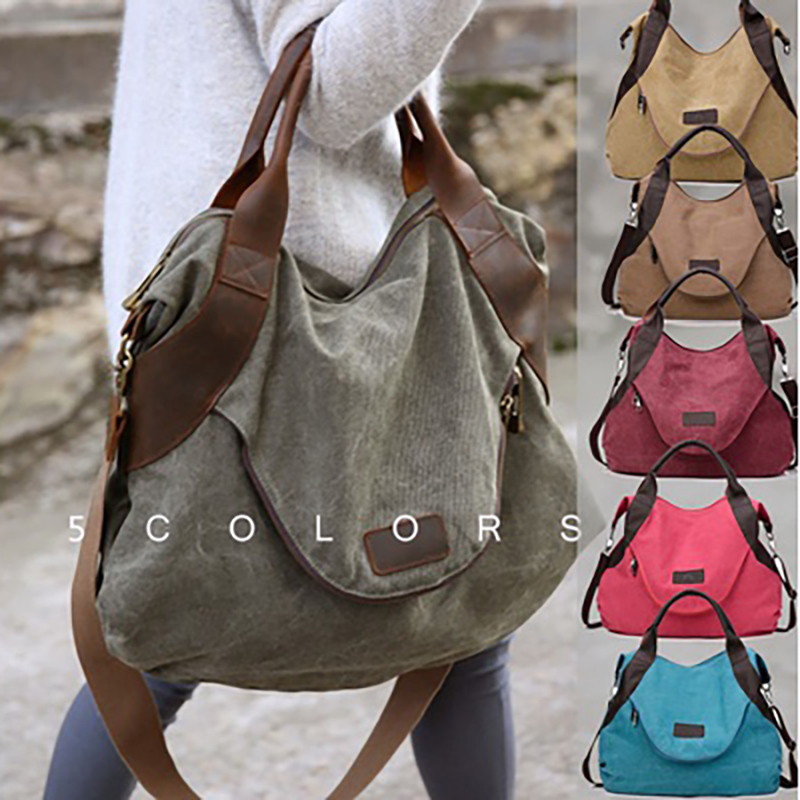 2019 Kvky Brand Large Pocket Casual Tote Women's Handbag Shoulder Handbags Canvas Leather Capacity Bags For Women(China)