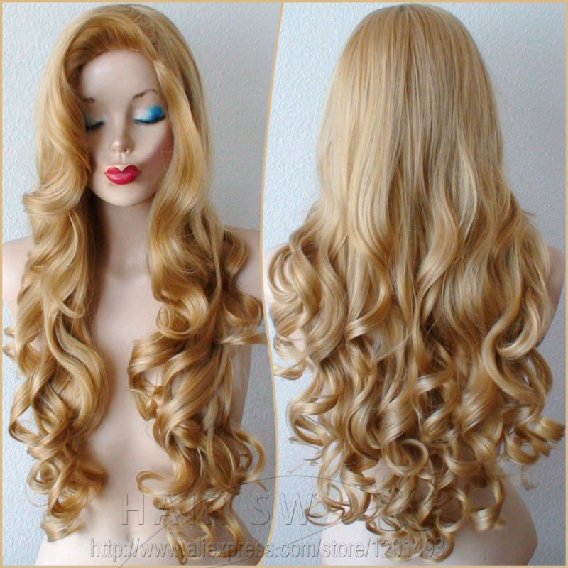 Golden Blonde Long Curly Jessica Rabbit Cosplay Wig Big