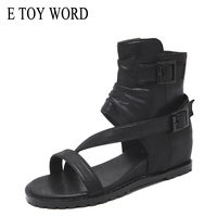E TOY WORD Women sandals fashion summer Gladiator sandals belt buckle wedges high sandals flat Comfortable casual women shoes