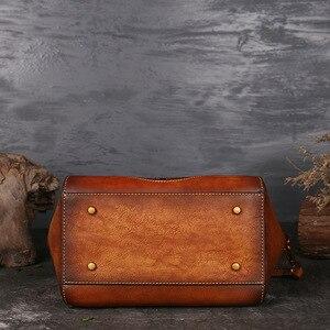 Image 4 - Luksusowe damskie torebki z prawdziwej skóry damskie Retro eleganckie torby na ramię skóra bydlęca ręcznie robione torby Womans